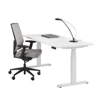 Elektrisch sta zit bureau wit onderstel met wit blad