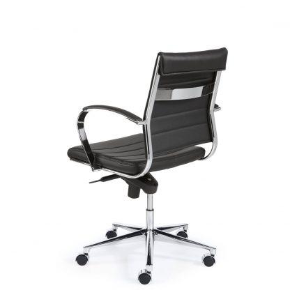 Bureaustoel met lage rug in kunstleder met chroom details