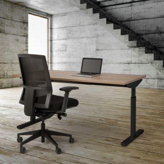 Hoogte instelbare werkplek met zwart onderstel en Robson blad