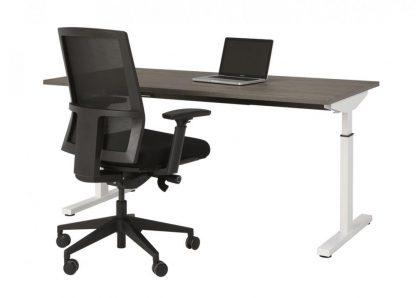 Wit Easy bureau met wit onderstel en blad Logan Eiken