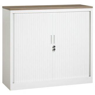 Roldeurkast 120 cm breed wit met topblad