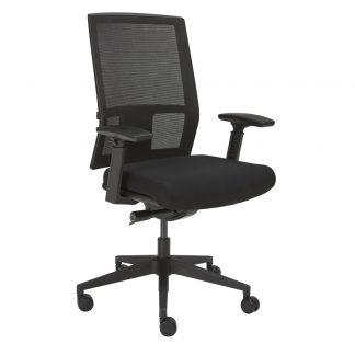 Zwarte bureaustoel met netwave rug en zwarte slijtvaste stof