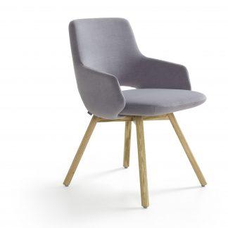 Artifort Jima stoel met 4 poots houten onderstel