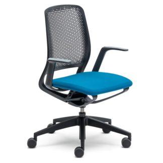 Bureaustoel se-motion zwart met blauw zitkussen