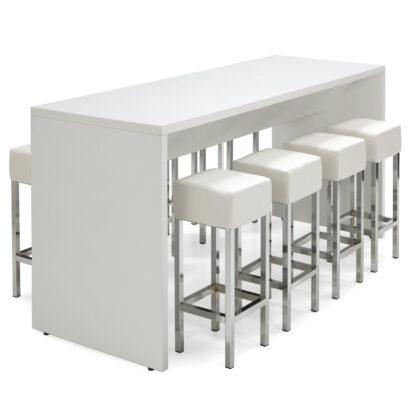 Hoge bartafel voor 8 personen uitgevoerd in wit formaat 220x80 cm
