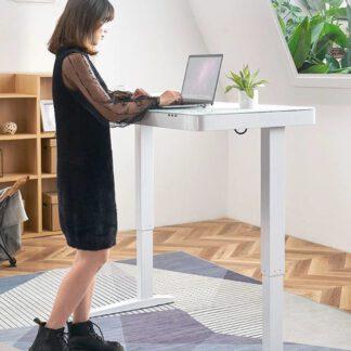Zéér compleet uitgevoerd thuiswerk bureau met een stalen frame in zwart of wit, blad in zwart of melkwit gehard glas