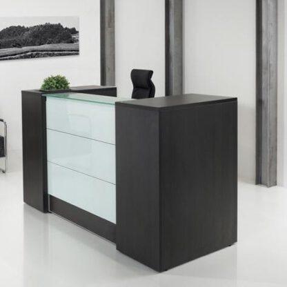 Receptiebalie - 188 cm - Donker Eiken - front met melkglas