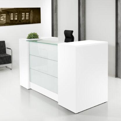 Receptiebalie - 188 cm - Wit - front met melkglas